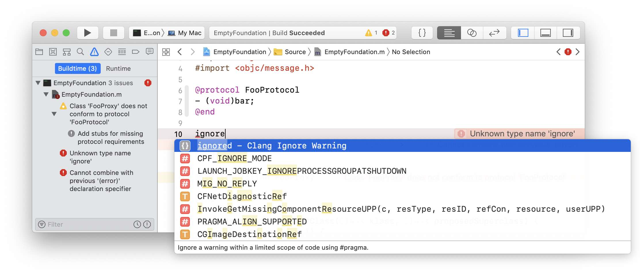 Xcode ignore snippet